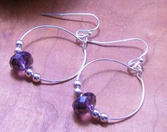 Delicate Silver Hoop Violet Crystal Earrings