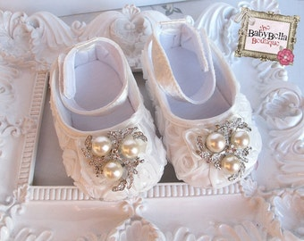 Baby Girl  white Satin Rosette Crib Shoes  ,Baby Shoes,Christening, Baptism, Wedding,