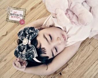 Vintage inspired,shabby Baby Girl  Grey Rosette Bow,pink  elastic headband,Toddler ,Infant girl headband.