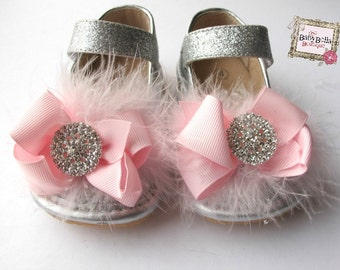 Toddler silver Sparkle Leather Squeaky Mary Jane/Glitter- baby girl shoes,pink bow and feathers.