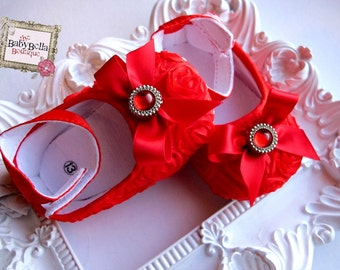 Baby Girl Red Satin Rosette Crib Shoes  ,Baby Shoes, Ready to ship