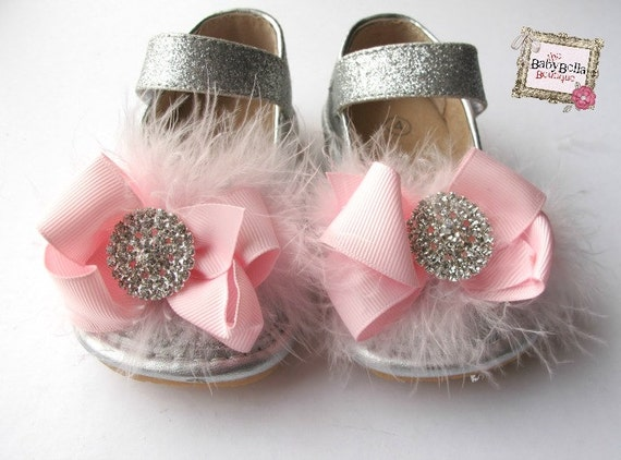 Toddler silver Sparkle Leather Squeaky by TheBabyBellaBoutique