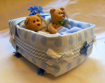Baby Boy Diaper Bassinet  - an adorable baby shower gift, made to order
