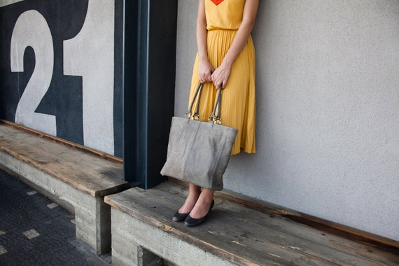 50% off Grey Leather Tote, grey tote bag, everyday bag