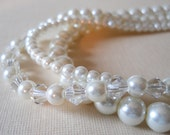Crystal Pearl Necklace Beaded Pearls With Crystals Three Strand Bridal Necklace Sparkly Bride Jewelry White Pearl Wedding Necklace Crystals