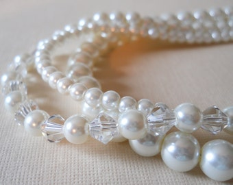 White Wedding Jewelry Crystal Pearl Necklace Three Strands Pearls Bridal Necklace Crystal Jewelry Pearl Wedding Jewelry Pearls For Brides