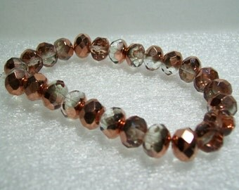 Czech Beads - Pink and Copper Rondelle Beads - Full Strand - 25 Beads 8x6mm