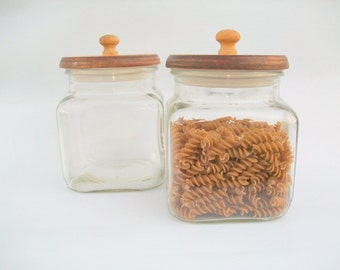 2 vintage Clear Glass Containers with Lids
