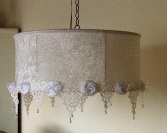 Large White  Velvet  Ceiling Light- Victorian style Hanging Lampshade