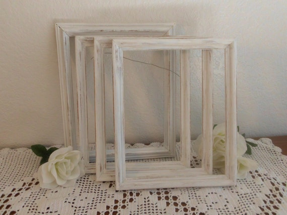 Distressed white frame rustic 8 x 10 shabby chic wedding decor - Cuadros shabby chic ...