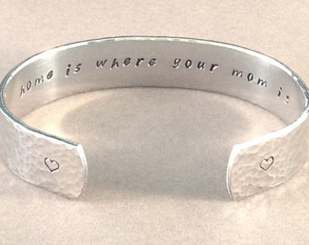 """Mother / Daughter / Son Gift - """"home is where your mom is"""" 1/2"""" hidden message cuff bracelet"""