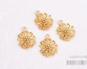 P368-MG// Matt Gold Plated Mini Mum Flower Pendant, 2pcs