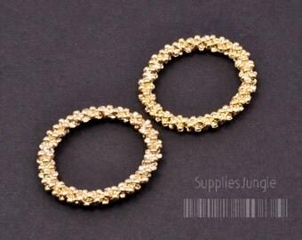 A313-03-MG// Matt Gold Plated Oval Bubble Link, 2pcs
