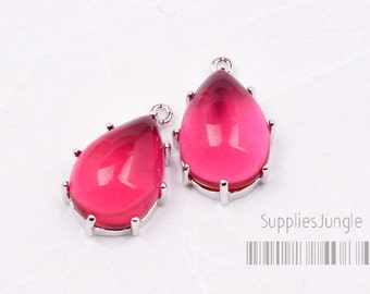 F103-03-S-RB// Silver Framed Ruby Smooth Teardrop Glass Pendant, 2 pcs