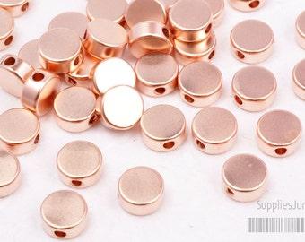 MB008-02-MRG// Matte Rose Gold Plated Round Metal Beads, 6Pcs