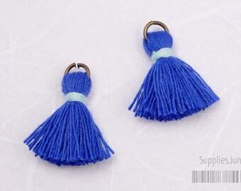 T002-CO-BS// Blue Turquise, Pastel Sky Blue Cotton Tassel Pendant, 4pcs, 23mm