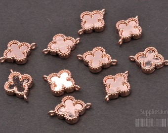 P300-02-RG// Rose Gold Plated framed Clover Pendant, 2pcs