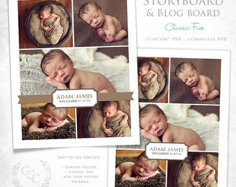 16x20 Vintage Damask Storyboard and Blog Board Template Photography Design- Classic Five