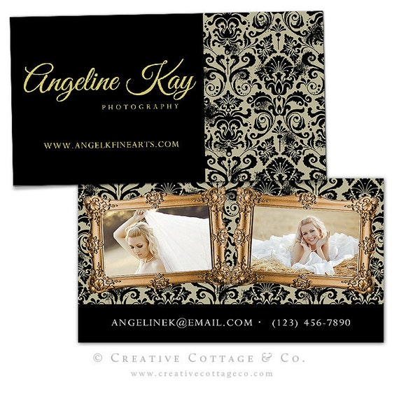 Cashmere- Shabby Damask Business Card Template PSD file, WHCC Spec