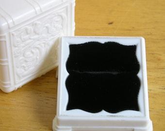 Art Deco Ring Box Wedding Proposal Celluloid plastic jewelry Display  Royal blue velvet vintage