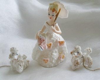 Young Lady Figurine Umbrella Floral Basket Gold Trim Porcelain