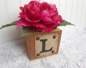 wEDDING sIGN, barnwood style box burlap monogram initial, shabby cottage, country rustic, traditional