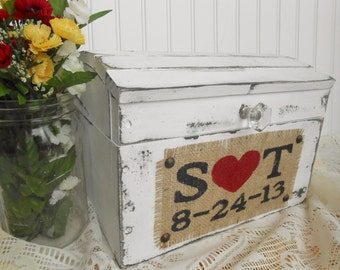 Burlap distressed wood wedding treasure chest, card box, momento holder, flower box, wedding wishes