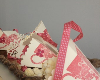 paper party supplies-tea party theme 6 ivory and pink teacup theme popcorn, candy, loot cones