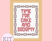 Counted Cross Stitch KIT Cake and Sodomy