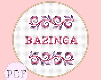 INSTANT DOWNLOAD Counted cross stitch PDF pattern Bazinga