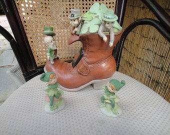 St. Patrick's Day Ceramic Leprechaun's on boot and two free standing Pixi's Vtg Lego