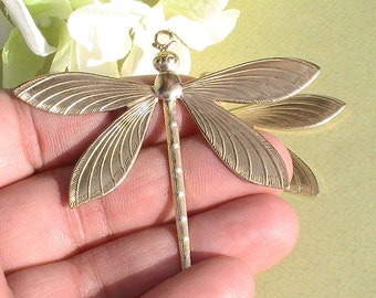 1pc Dragonfly Charm Pebdant Raw Brass Stamping Jewelry Supplies Jewelry Making Supplies Mixed Media DIY Supplies Charms