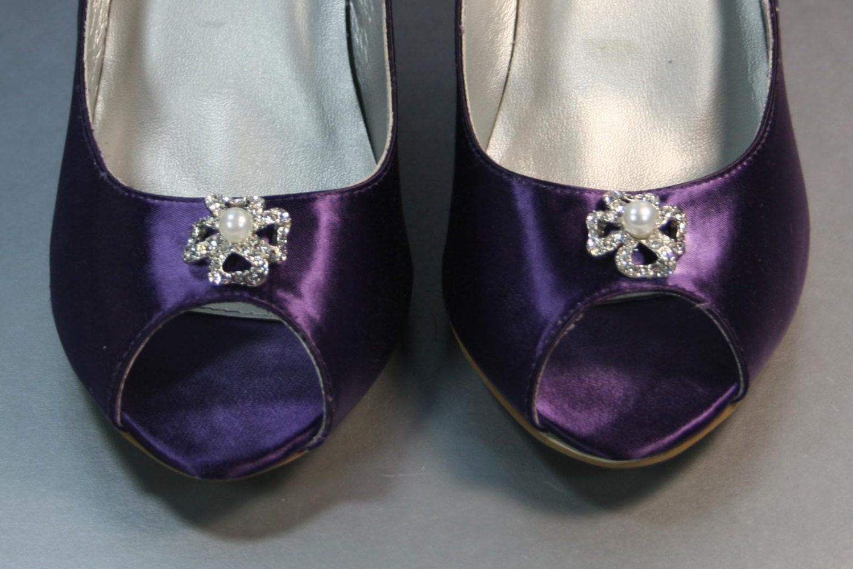 SAMPLE SALE Wedding Shoes Purple Wedges With Rhinestones