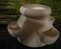 Large, Strawberry Pot, Strawberry Planter, Flower Pot, Patio Pot, Ready to paint, u-paint, Ceramic bisque
