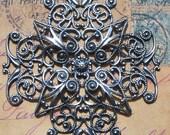 Large Brass Filigree Cross, Sterling silver finish