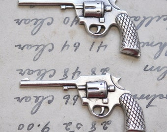 TWO Revolver gun brass stampings, Sterling Silver Finish