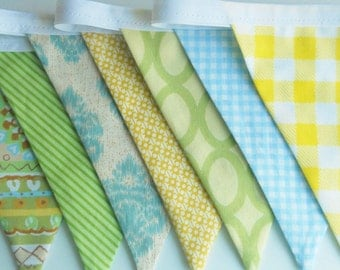 Boy Bunting Fabric Flags Banner - Birthday Party Decoration, Room Decor, Baby Shower, Photo Prop - Blues Greens Yellows