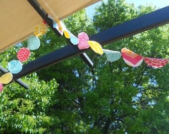 Pink Aqua Yellow Bunting Banner Garland - Birthday, Girls Room Decor. Baby Shower, Photo Prop - 15 FEET