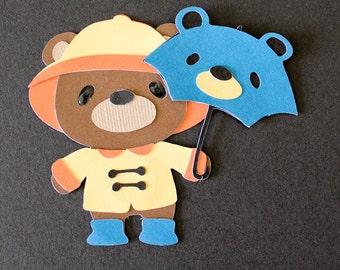 Teddy Bear Die Cut - BEAR WEARING RAINCOAT