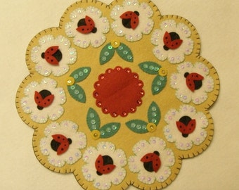 Lady Bug KIT Candle Mat KIT- Do it Yourself- Wool Felt Blend Pre-cut pieces- Fast and Easy