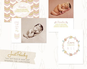 "INSTANT DOWNLOAD Custom Photo Birth Announcement Template Set ""Just Peachy Vol. 1 & 2"""