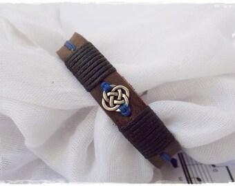Love Knot Bracelet, Celtic Knot Bracelet, Celtic Wedding Bracelet, Men's Leather Cuff, Gaelic Leather Bracelet, Nordic Leather Bracelet Cuff