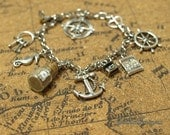 Pirates of the Caribbean Charm Bracelet, Pirate Jewelry, Bottle Charm Bracelet, Disney Jewelry, by Life is the Bubbles