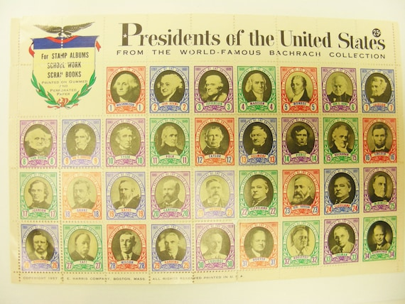 Bachrach Collection Presidents of the United States Stamps 1957 Harris Co Unused