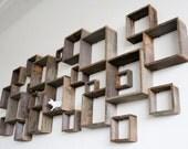 Shadow box wall installation - barn wood shelves