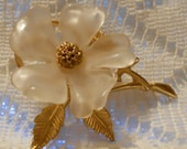 Vintage Dogwood Flower Brooch with Gold Tone Leaves