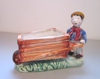 Vintage Shawnee  Planter Wheelbarrow Boy Rare Price reduced damage shown in pictures 4 and 5