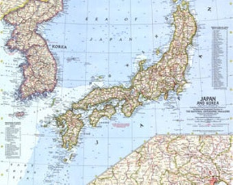 Vintage Map 1960 Korea and Japan Map 1960 National Geographic