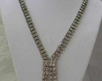 Vintage Rhinestone Chandelier Statement Necklace