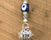 Aquamarine Baby Belly Bell Maternity Necklace Angel Caller Sterling Silver Bola Chime with Handmade Evil Eye Baby Shower Gift Mom to Be Gift